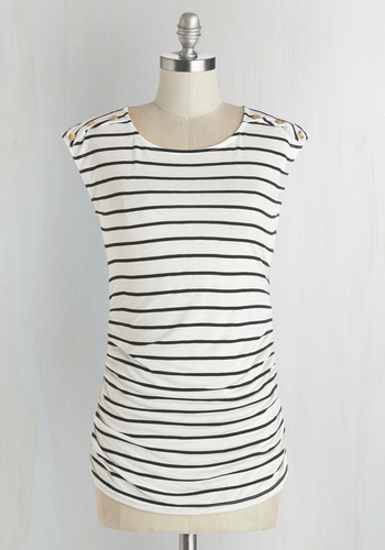Fluent in Fashion Top in Stripes - White, Short Sleeve, Knit, White, Stripes, Buttons, Casual, Cap Sleeves, Black, Variation, Mid-length, Top Rated