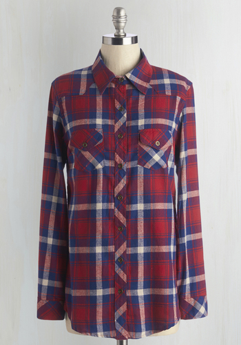 Craft Cider Tasting Top in Red - Red, Long Sleeve, Cotton, Woven, Red, Blue, Plaid, Pockets, Casual, Button Down, Long Sleeve, Fall, Long