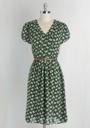 Take to the Wind Dress in Greenery - Green, White, Print, Buttons, Pleats, Belted, Casual, A-line, Short Sleeves, Woven, Variation, V Neck, Vintage Inspired, 40s, Floral, Shirt Dress, Best Seller, Mid-length