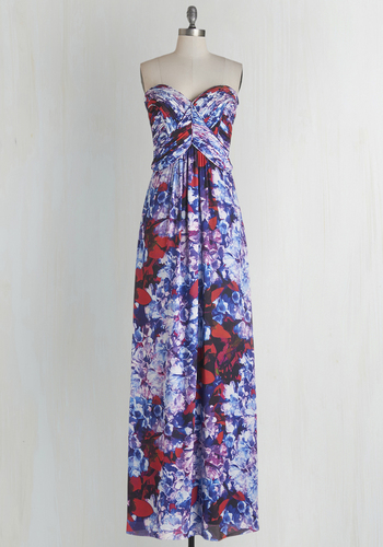 Felicitous Florals Dress - Multi, Print, Maxi, Strapless, Woven, Best, Sweetheart, Floral, Special Occasion, Prom, Homecoming, Chiffon, Long