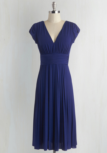 Early Morning Dewdrops Dress - Knit, Blue, Solid, Work, Casual, A-line, Fall, Pleats, Cap Sleeves, Long