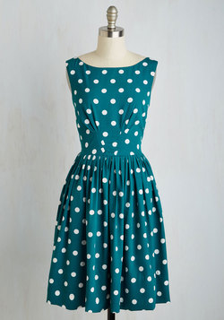 Daytrip Darling Dress in Teal Dots