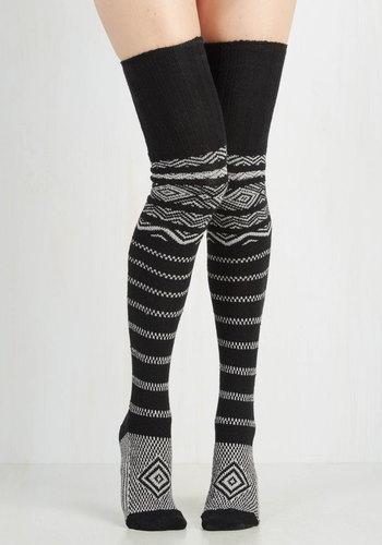 Carte Banff Thigh Highs in Black Stripes $34.99 AT vintagedancer.com