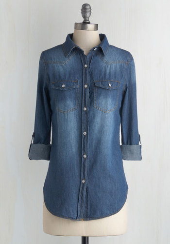 Whidbey Island Top in Twilight - Cotton, Woven, Denim, Blue, Solid, Casual, Long Sleeve, Good, Variation, Collared, Blue, Tab Sleeve, Buttons, Pockets, Rustic, Mid-length, Top Rated, Press Placement, Scholastic/Collegiate, Fall