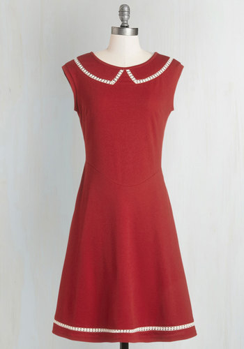 Author Outings Dress in Rouge by Myrtlewood - Red, Solid, Casual, Scholastic/Collegiate, A-line, Better, White, Pockets, Trim, Cap Sleeves, Exclusives, Variation, Private Label, Full-Size Run, Nautical, Mid-length