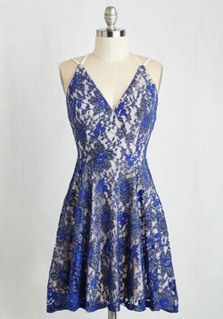 Early Antiquing Dress in Cobalt