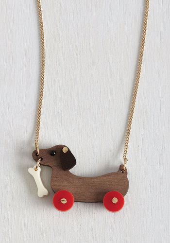 Kick, Woof, Coast Necklace - Brown, Red, Print with Animals, Quirky, International Designer, Gold, Dog
