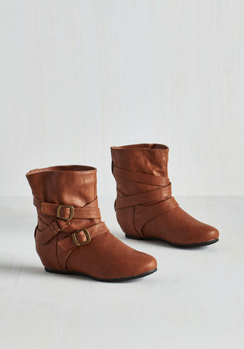 Bring the Flair Boot in Whiskey - Flat, Solid, Buckles, Good, Strappy, Brown, Casual