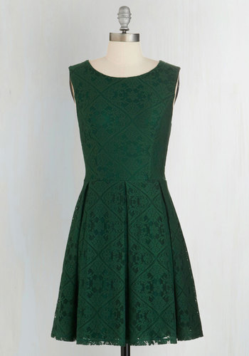 Happily Emerald After Dress - Green, Solid, Lace, Pleats, Party, A-line, Sleeveless, Better, Scoop, Woven, Lace, Mid-length, Fall, Work