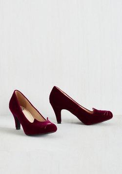 Mew and Me Forever Heel in Garnet Velvet