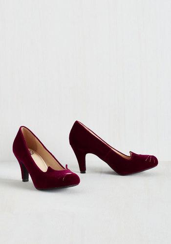Mew and Me Forever Heel in Garnet Velvet $74.99 AT vintagedancer.com