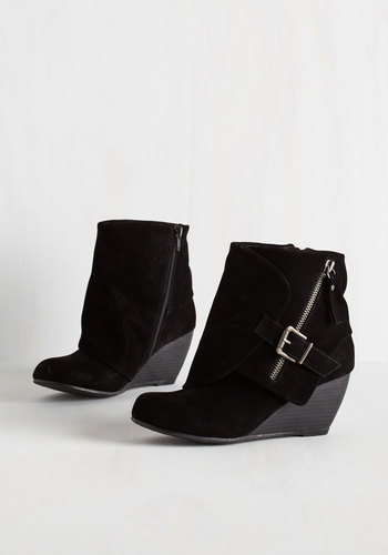 Follow the Fashionista Boot in Black - Mid, Black, Solid, Buckles, Exposed zipper, Better, Wedge