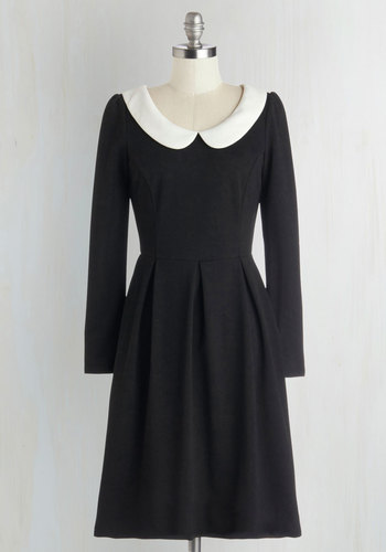 Record Store Date Dress in Black - Black, White, Peter Pan Collar, Casual, A-line, Long Sleeve, Better, Collared, Knit, Exposed zipper, Vintage Inspired, Gifts Sale, Mid-length