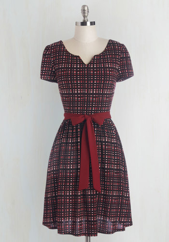Quite the Travelista Dress - Knit, Plaid, Casual, Scholastic/Collegiate, A-line, Short Sleeves, Better, Work, Fall, Pockets, Belted, Full-Size Run, Mid-length, Red