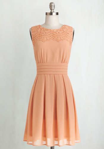 V.I.Pleased Dress in Peach - Solid, Pleats, Daytime Party, A-line, Sleeveless, Better, Woven, Embroidery, Pastel, Spring, Top Rated, Mid-length, Pink