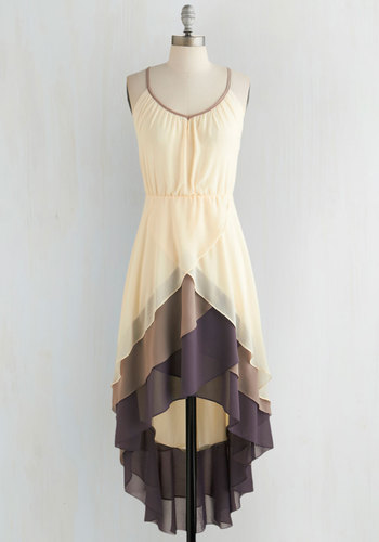 Cheers for Tiers Dress - Cream, Purple, Tan / Cream, Solid, Tiered, Daytime Party, High-Low Hem, Spaghetti Straps, Scoop, Mid-length, Chiffon, Woven, Top Rated