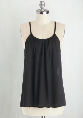 Free to Chic Top - Mid-length, Sheer, Woven, Black, Party, Cocktail, Girls Night Out, Vintage Inspired, 60s, Minimal, Spaghetti Straps, Good, Scoop, Black, Sleeveless, Solid, Festival, Summer