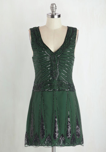 And All That Jazz Dress - Short, Woven, Green, Black, Sequins, Cocktail, Vintage Inspired, 20s, A-line, Sleeveless, Better, V Neck, Beads, Party, Holiday Party