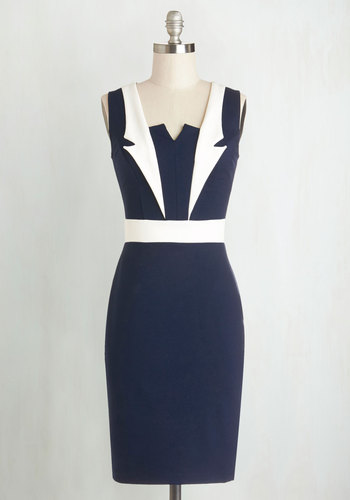 Lapel in Love Dress - Knit, Mid-length, Blue, White, Work, Bodycon / Bandage, Sleeveless, Good, Nautical, Vintage Inspired, 40s, 50s, Cocktail