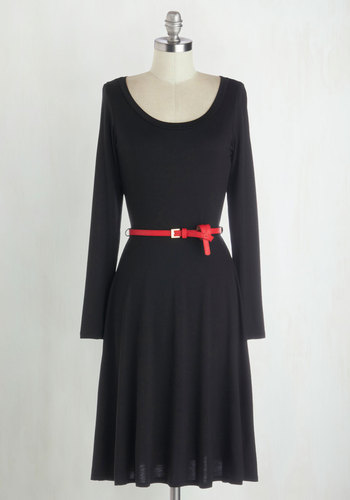 Boost Your Basics Dress - Jersey, Knit, Black, Solid, Belted, Casual, A-line, Long Sleeve, Scoop, Long