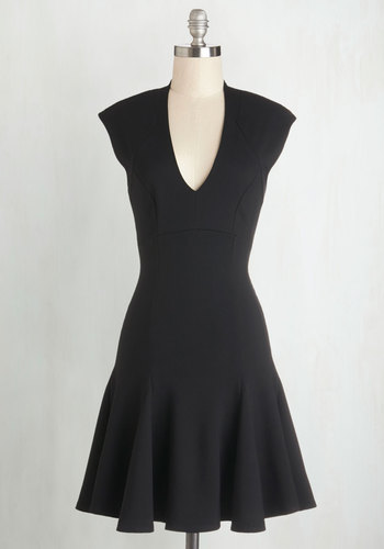 A Dash of Flair Dress in Black - Black, Solid, Party, LBD, Cap Sleeves, Good, V Neck, Knit, Full-Size Run, Girls Night Out, Drop Waist, Mini, Mid-length