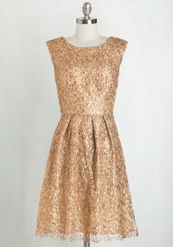 Fun One Like You Dress in Gold