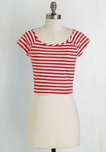 Roller Derby Date Top in Red - Knit, Short, Red, Short Sleeve, Red, White, Stripes, Casual, Nautical, Rockabilly, Cropped, Short Sleeves, Good, Variation, Best Seller, Americana, Pinup, Spring, Summer, 4th of July Sale, Top Rated