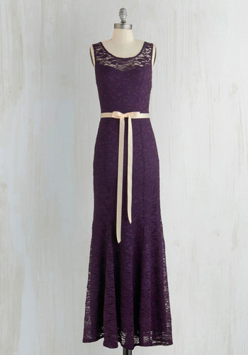A Real Romantic Dress - Purple, Solid, Lace, Belted, Special Occasion, Prom, Maxi, Sleeveless, Better, Scoop, Sheer, Knit, Lace, Long, Homecoming, Wedding Guest