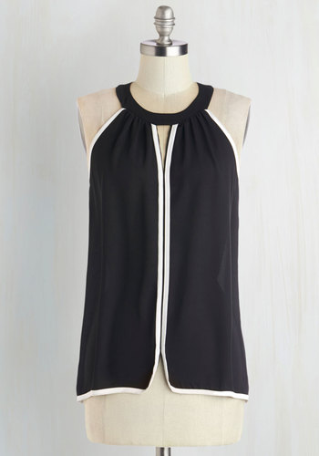 Chic for Yourself Top - Sheer, Mid-length, Black, Solid, Black, Sleeveless, White, Cutout, Trim, Sleeveless, Girls Night Out, Press Placement, Top Rated
