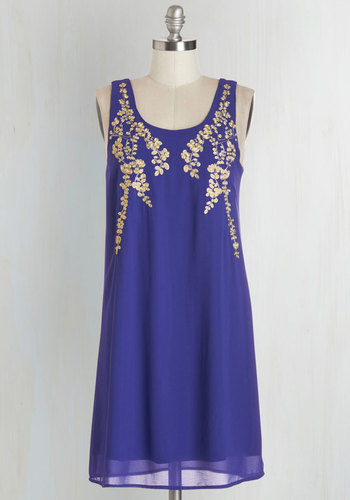 Everything Exquisite Dress in Indigo - Blue, Gold, Embroidery, Party, Shift, Sleeveless, Woven, Good, Scoop, Mid-length