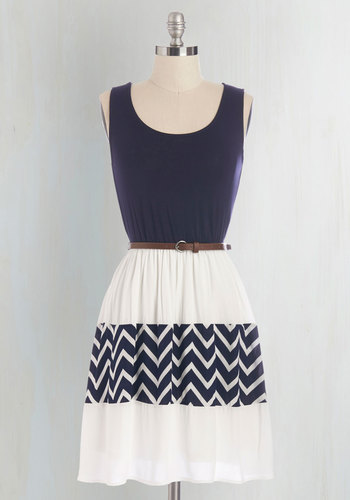 Day Cruise Dress in Marine - White, Chevron, Belted, Casual, A-line, Sleeveless, Summer, Good, Scoop, Mid-length, Knit, Blue, Nautical, Twofer, Print
