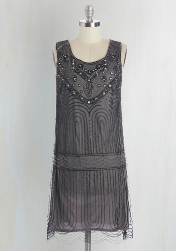Philharmonic of Time Dress in Smoke - Grey, Beads, Sequins, Special Occasion, Party, Vintage Inspired, 20s, Shift, Sleeveless, Woven, Better, Scoop, Mixed Media, Rhinestones, Holiday Party, Homecoming, Wedding Guest