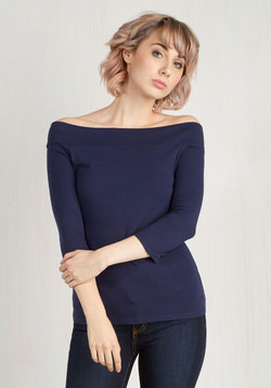 Cafe Parfait Top in Navy - 3/4 Sleeves