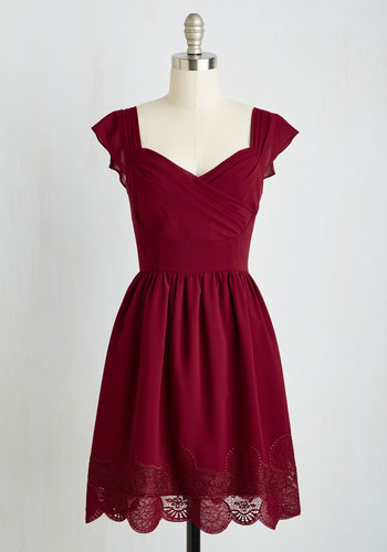 Let's Reminisce Dress in Cranberry