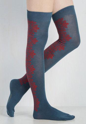 Victorian Inspired Womens Clothing Eenie Meenie Viney Moe Thigh Highs in Slate Blue $19.99 AT vintagedancer.com