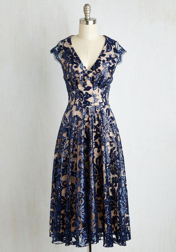 Pinch Me Im Gleaming Dress in Midnight $239.99 AT vintagedancer.com