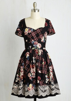 Charm Convention Dress in Floral Plaid
