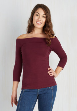Cafe Parfait Top in Merlot - 3/4 Sleeves
