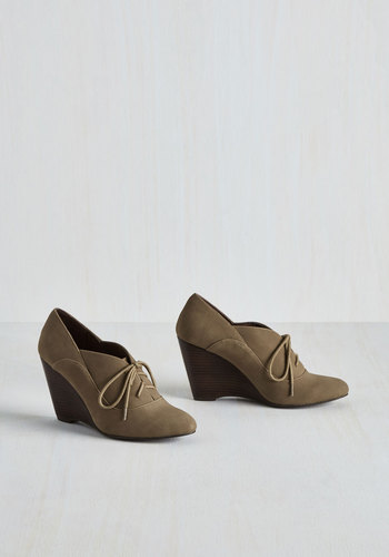 Be our Guest Lecturer Wedge in Taupe $68.99 AT vintagedancer.com