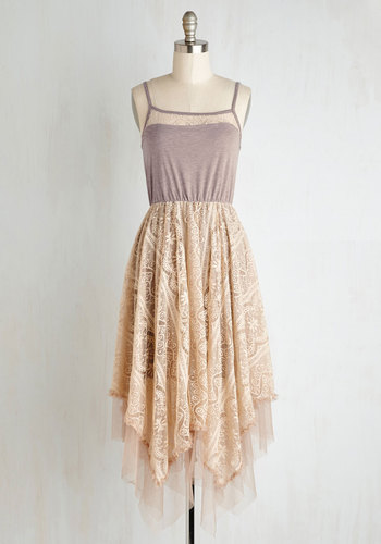 Long Time No Whimsy Dress by Ryu - Lace, Daytime Party, Boho, Better, Scoop, Knit, Lace, Tulle, Tan, Handkerchief, Fairytale, A-line, Spaghetti Straps, Party, Long