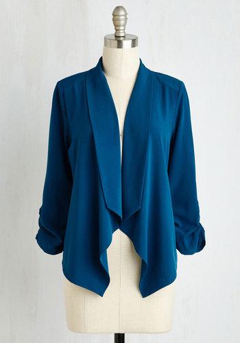 Marketing Maven Blazer in Aqua - Knit, Blue, Solid, Work, Good, Ruching, Minimal, 3/4 Sleeve, Variation, Blue, Mid-length, 1, Tis the Season Sale, Colorsplash, Spring, Summer