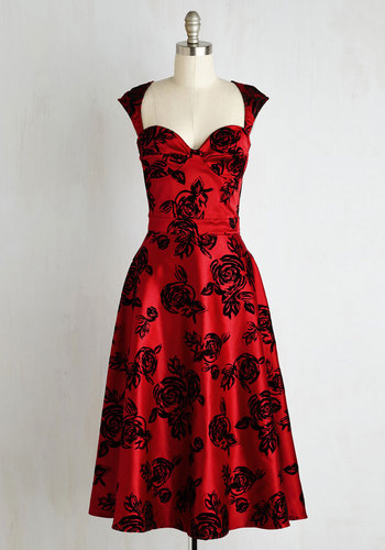 Prove Your Groove Dress in Ruby Roses $119.99 AT vintagedancer.com