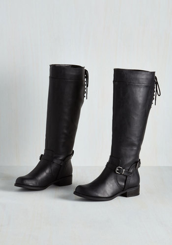 Steadfast Style Boot in Black - Black, Solid, Buckles, Low, Good, Lace Up, Variation, Faux Leather, Knee