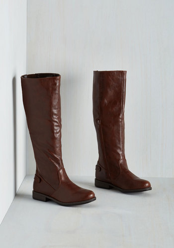 Solid Start Boot in Brown - Low, Faux Leather, Brown, Solid, Good, Variation, Knee