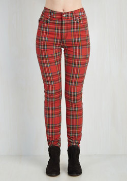 Never Plaid It So Good Pants in Red - High-Rise