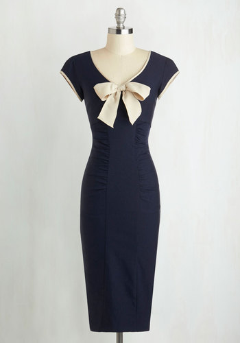1940s Style Dresses and Clothing Sheath a Lady Dress in Navy $159.99 AT vintagedancer.com