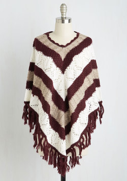 Drive-in Duties Poncho in Burgundy
