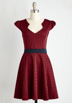 The Story of Citrus Dress in Burgundy Dot