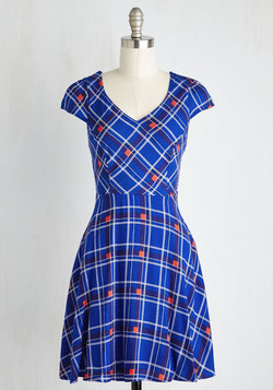 Work This Way Dress in Cobalt Plaid