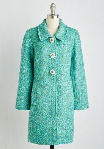 Snowfall in Love Coat in Aqua $199.99 AT vintagedancer.com